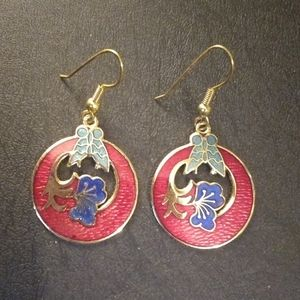 Jewelry - Red circle cloisonne hook earrings